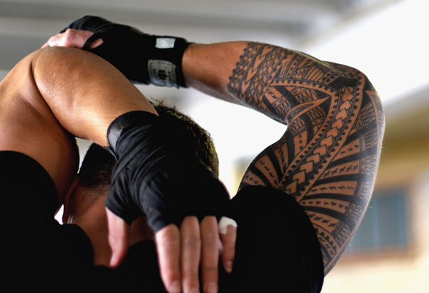 Sonny Bill Williams has Samoan tattoos on his arm and calf