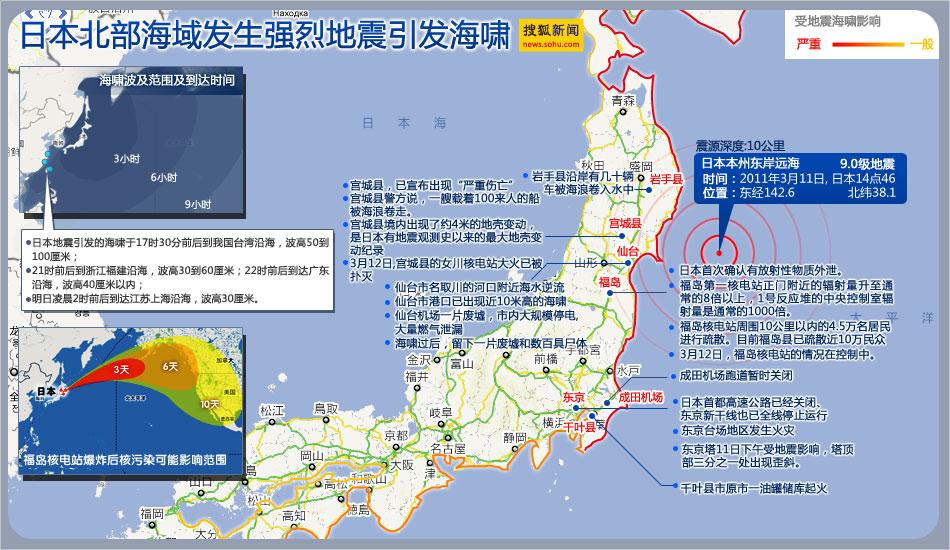 日本大地震导致东部地区东扩 国土增加1平方公里(图)